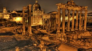 Preview wallpaper italy, ruins, columns, vintage, hdr