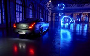 Preview wallpaper jaguar xj, jaguar, neon, lights, car, sedan, luxury