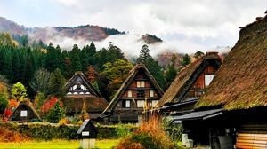 Preview wallpaper japan, shirakawa, houses, mountains, trees