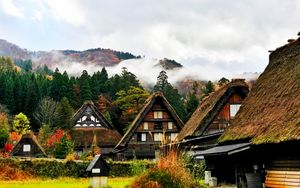 Preview wallpaper japan, shirakawa, houses, mountains, trees