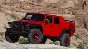 Preview wallpaper jeep, wrangler, red, side view