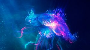 Preview wallpaper jellyfish, underwater world, glow, art, fabulous