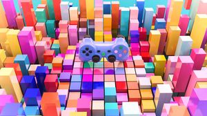 Preview wallpaper joystick, gamepad, cubes, 3d, volume, multicolor