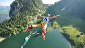 Preview wallpaper jump, flight, height, extreme, fear, danger