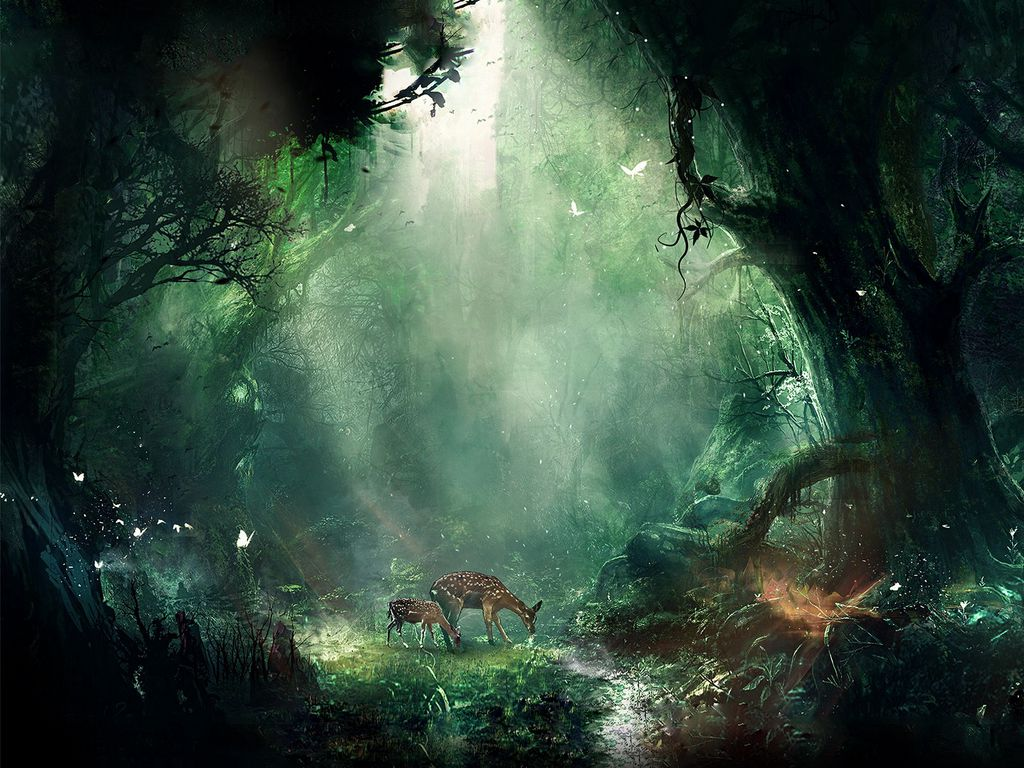 1024x768 Wallpaper jungle, fantasy, deer, butterflies, night, trees
