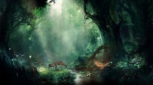 Preview wallpaper jungle, fantasy, deer, butterflies, night, trees