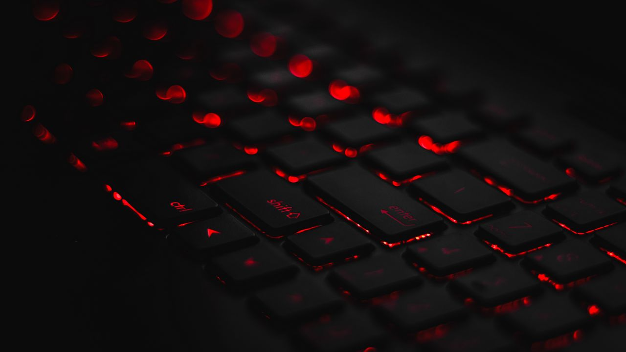 1280x720 Wallpaper keyboard, backlight, red, glare, bokeh