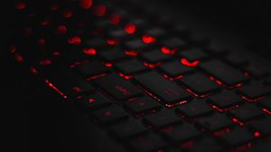 Preview wallpaper keyboard, backlight, red, glare, bokeh