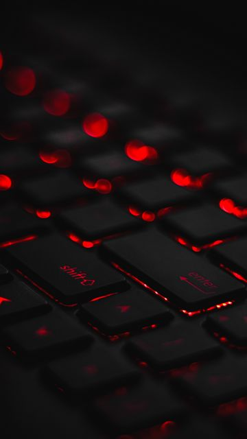 360x640 Wallpaper keyboard, backlight, red, glare, bokeh
