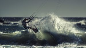 Preview wallpaper kite surfing, sportsman, sea, ocean, wave