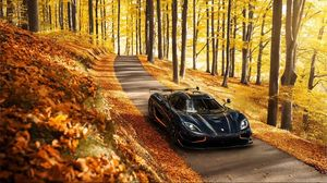 Preview wallpaper koenigsegg, agera, rs, side view, autumn, trees