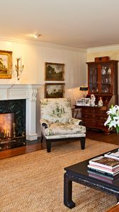 Preview wallpaper la, house, interior, fireplace, picture, room, seat, luxury, fire, piano, table