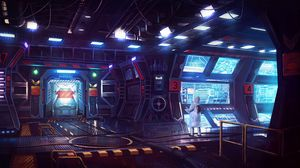 Preview wallpaper laboratory, sci-fi, art, man, monitors, light