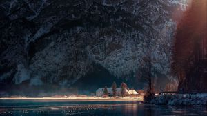 Preview wallpaper lake, house, mountains, austria