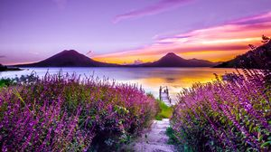 Preview wallpaper lake, mountains, solitude, flowering, lake atitlan, guatemala