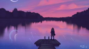 Preview wallpaper lake, pier, silhouette, night, loneliness, art