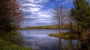Preview wallpaper lake, trees, sky, landscape, hdr