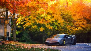 Preview wallpaper lamborghini, autumn, gallardo, superleggera, lp570
