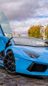 Preview wallpaper lamborghini, aventador, blue, paris