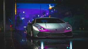 Preview wallpaper lamborghini aventador, lamborghini, car, sports car, gray, wet, street, night