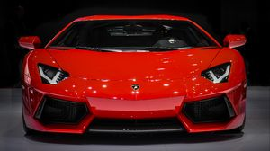 Preview wallpaper lamborghini aventador, lamborghini, sports car, supercar, red, front view