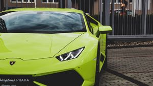 Preview wallpaper lamborghini aventador, lamborghini, sports car, green, headlight