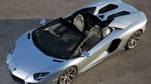 Preview wallpaper lamborghini aventador, lp700-4, gray, top view