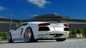 Preview wallpaper lamborghini, aventador, lp700-4, white, paving tiles, sky, clouds