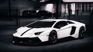 Preview wallpaper lamborghini, aventador, lp700-4, white, side view, 2014, tron tuning
