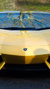 Preview wallpaper lamborghini, aventador, lp700-4, yellow, car, front view
