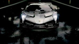 Preview wallpaper lamborghini aventador roadster, lamborghini, sports car, front view, race, black