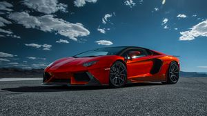 Preview wallpaper lamborghini, aventador-v, lp 740-4, red, side view