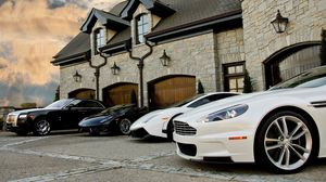 Preview wallpaper lamborghini, building, black, rolls-royce, aston martin, other brands, white