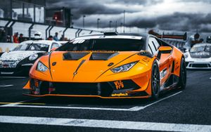 Preview wallpaper lamborghini, car, sports car, orange, racing