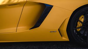 Preview wallpaper lamborghini, car, wheel, tire, yellow