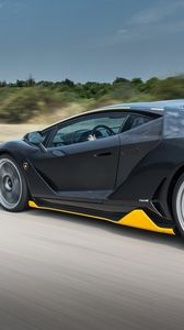 Preview wallpaper lamborghini, centenario, side view, speed