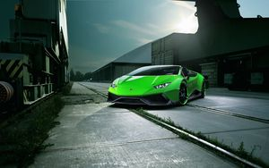Preview wallpaper lamborghini, huracan, spyder, green, front view