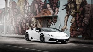 Preview wallpaper lamborghini, huracan, white, side view