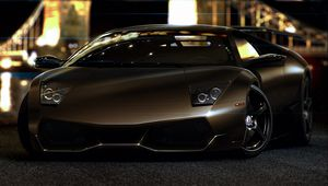 Preview wallpaper lamborghini, murcielago, lp670-4, sv, front, jackdarton, glare, night lights