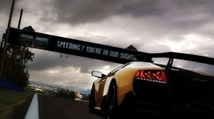 Preview wallpaper lamborghini, rear view, yellow