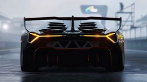 Preview wallpaper lamborghini veneno, lamborghini, sports car, racing, rear view