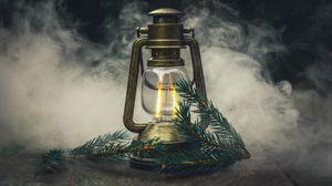 Preview wallpaper lamp, branch, spruce, smoke