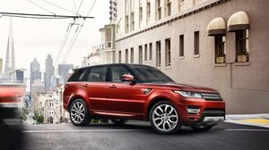 Preview wallpaper land rover, range rover, suv, red, city
