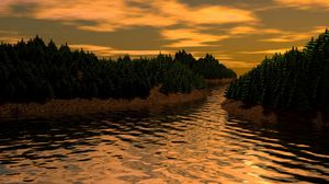 Preview wallpaper landscape, 3d, art, river, trees