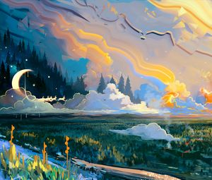 Preview wallpaper landscape, art, moon, grass, colorful