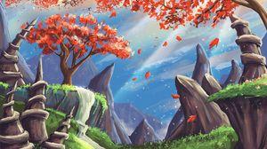 Preview wallpaper landscape, art, tree, mountains, rocks, waterfall
