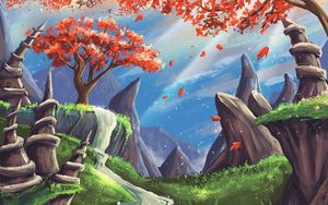 Preview wallpaper landscape, art, tree, mountains, rocks, waterfall