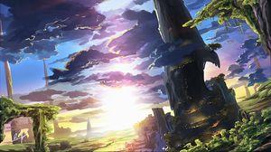 Preview wallpaper landscape, clouds, dawn, art, fantastic