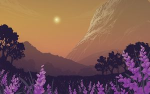 Preview wallpaper landscape, mountains, art, lavender, flowers, trees, sun