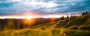 Preview wallpaper landscape, mountains, sun, meadow, trees, sunrise, sunlight